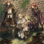 2boys 2girls ahoge armor blonde_hair blush boots brown_hair candy cape circlet cloak closed_eyes fingerless_gloves fire_emblem fire_emblem:_kakusei flower gaia_(fire_emblem) gloves green_hair hand_on_hip headband highres knees_on_chest leg_hug lollipop long_hair maekakekamen multiple_boys multiple_girls my_unit nintendo nono_(fire_emblem) pointy_ears ponytail redhead riviera_(fire_emblem) short_hair sitting smile thigh-highs