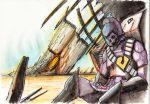80s alien armor bad_end choujikuu_yousai_macross corpse damaged desert doll giant gloves helmet highres lynn_minmay macross oldschool pilot_suit sapiains scan sitting skull soldier space_craft spacesuit traditional_media zentradi