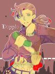 1boy asyura-1010 diavolo dual_persona freckles green_eyes highres jojo_no_kimyou_na_bouken midriff nail_polish phone purple_hair spoilers sweater vinegar_doppio yellow_eyes