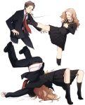 adachi_tooru age_difference belt blazer brown_hair formal houndstooth konishi_saki mushisotisis necktie persona persona_4 school_uniform serafuku socks suit white_legwear