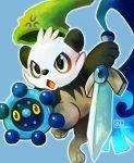 bronzor hat haychel honedge no_humans pancham panda parody pokemon pokemon_(creature) pokemon_(game) pokemon_xy shield signature smile sword the_legend_of_zelda weapon