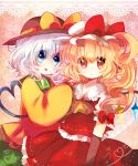 2girls ascot blonde_hair blouse blue_eyes border bow elbow_gloves flandre_scarlet gloves gradient gradient_background hand_on_another's_shoulder hat hat_ribbon head_to_head heart heart_of_string kirara310 komeiji_koishi lace looking_at_viewer mob_cap multiple_girls open_mouth parted_lips puffy_short_sleeves puffy_sleeves red_eyes ribbon short_hair short_sleeves side_ponytail skirt skirt_set sleeves_past_wrists touhou white_hair wings