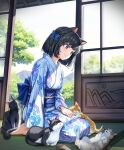 1girl animal animal_ears bangs barefoot black_hair blue_bow blue_kimono blush bow breasts brown_eyes cat cat_ears cat_girl cat_tail closed_mouth day eyebrows_visible_through_hair floral_print full_body hair_bow highres indoors japanese_clothes kimono long_sleeves looking_down obi on_floor one_side_up original popuru sash seiza short_hair sitting small_breasts smile solo sunlight tail tatami tree wide_sleeves