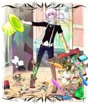 1boy akaboshi_imoko balloon_animal boots detached_sleeve dollar_bill green_eyes hat juggling_club long_hair midriff money navel open_mouth party_castle pink_hair scarf solo suitcase top_hat