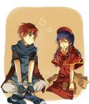 1boy 1girl blue_hair fire_emblem lilina redhead roy