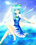 1girl arched_back arms_behind_back bare_legs barefoot blue_eyes blue_hair blue_sky bow cirno clouds dress el_(el406) flying hair_bow knee_up looking_at_viewer mountain open_mouth outstretched_arms puffy_short_sleeves puffy_sleeves ribbon short_hair short_sleeves sky solo sun touhou water wings