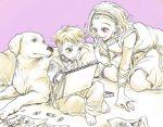 1boy 1girl arnold_(jojo) dog drawing dress hairband jojo_no_kimyou_na_bouken kishibe_rohan mitsuru_(91000) sugimoto_reimi young