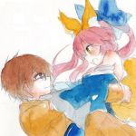 1boy 1girl animal_ears bare_shoulders bow brown caster_(fate/extra) detached_sleeves fate/extra fate_(series) fina_(sa47rin5) fox_ears fox_tail glasses hair_bow hair_ribbon hug japanese_clothes open_mouth pink_hair ribbon smile tail traditional_media twintails watercolor_(medium) yellow_eyes