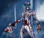 1boy armor blood blood_splatter bloody_clothes dead_space eu03 glowing gun helmet isaac_clarke plasma_cutter power_suit science_fiction solo spacesuit visor weapon
