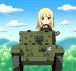 1girl animated animated_gif artist_request chibi cromwell_(tank) cup earl_grey_(girls_und_panzer) girls_und_panzer military military_vehicle parody solo tank teacup vehicle