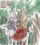 1boy animal_ears bald bandages dress eyes god_of_war hands hat head inubashiri_momiji judgemasterkou kratos legs long_hair male mouth multiple_girls neck necktie nose pink_hair rabbit_ears red_eyes reisen_udongein_inaba short_hair silver_hair skin skirt sword tattoo touhou weapon