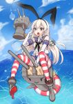1girl anchor blonde_hair blush boots brown_eyes clouds elbow_gloves gloves hair_ornament hairband highres kantai_collection lens_flare long_hair open_mouth personification shimakaze_(kantai_collection) skirt sky solo ssttool6113 striped striped_legwear thigh-highs white_gloves