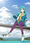 1girl apr aqua_hair boots clouds green_eyes hair_ornament long_hair looking_at_viewer macross_30 mina_forte scarf sitting sky smile solo wide_sleeves