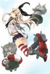 1girl anchor ass black_eyes black_panties blonde_hair blush elbow_gloves from_behind gloves hair_ornament hairband highres hukii_hiyoru kantai_collection long_hair looking_at_viewer looking_back panties personification shimakaze_(kantai_collection) skirt solo striped striped_legwear thigh-highs turret underwear white_gloves
