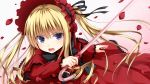 1girl blonde_hair blue_eyes bonnet cane dress drill_hair flower haryuu_(poetto) highres long_hair long_sleeves open_mouth petals ribbon rose rozen_maiden shinku solo twintails white_background