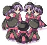 6+girls :< ahoge bangs barefoot black_hat black_sash blush bowl bowl_hat chibi commentary_request eyebrows_visible_through_hair from_behind from_side full_body hand_on_own_chin hat japanese_clothes kimono long_sleeves looking_at_another multiple_girls multiple_persona obi open_mouth petticoat profile purple_hair red_eyes red_kimono sash shadow shope simple_background standing sukuna_shinmyoumaru touhou white_background wide_sleeves