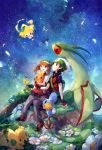 1boy 1girl black_hair blue_eyes brown_hair fingerless_gloves flower flygon gloves haruka_(pokemon) highres jirachi mudkip pokemon pokemon_(creature) red_eyes shroomish star_(sky) surskit torchic treecko welchino yuuki_(pokemon)