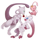 absurdres alternate_form blue_eyes blush closed_eyes eye_contact fang flower green_eyes highres looking_at_another maimai97 mega_mewtwo_y mega_pokemon meowth meowth_(cosplay) mew mewtwo no_humans open_mouth pokemon pokemon_(creature) pokemon_(game) pokemon_xy rose simple_background smile tagme whiskers white_background