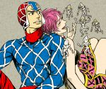 1boy 1girl claptrack guido_mista jojo_no_kimyou_na_bouken pink_hair sex_pistols_(stand) short_hair stand_(jojo) trish_una