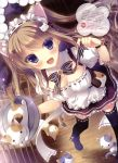 1girl :< :3 :d absurdres animal_ears black_legwear breasts brown_hair cat cat_ears cleavage detached_collar highres legs maid_headdress nekomori_mike nyan_cafe_macchiato open_mouth smile tagme thigh-highs violet_eyes waitress yukie_(peach_candy) |3