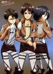 1girl 2boys absurdres black_hair eren_jaeger highres huge_filesize jacket levi_(shingeki_no_kyojin) mikasa_ackerman multiple_boys shingeki_no_kyojin short_hair strap