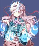 1girl circle fox_mask hata_no_kokoro long_hair looking_at_viewer mask pink_eyes pink_hair plaid plaid_shirt skirt solo star touhou triangle xiaohuasan