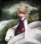 1girl arano_oki blonde_hair hair_ribbon hat moriya_suwako rain ribbon snake touhou white_snake wide_sleeves yellow_eyes