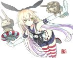 >_< 1girl :< anchor black_panties blonde_hair elbow_gloves gloves green_eyes hair_ornament hairband kantai_collection kumonji_aruto long_hair outstretched_arms panties personification rensouhou-chan shimakaze_(kantai_collection) skirt solo spread_arms striped striped_legwear thighhighs underwear white_gloves