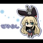 1girl :3 anchor blonde_hair blue_eyes cannon chibi flat_gaze hair_ribbon kantai_collection letterboxed long_hair navel on_head rensouhou-chan ribbon shimakaze_(kantai_collection) skirt yanagi_(nurikoboshi)