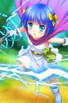 1girl blue_eyes blue_hair blush boots bow cape dragon_quest dragon_quest_v electricity flat_chest flora's_daughter gloves hair_bow highres magic mutsuki_(moonknives) open_mouth short_hair solo staff