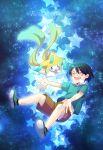 1boy black_hair glases holiday-jin jirachi masato_(pokemon) pokemon pokemon_(anime) pokemon_(creature) shorts sky star star_(sky) starry_sky