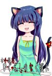 1girl :d animal_ears arms_behind_back bare_shoulders bell bow cat_ears closed_eyes collarbone copyright_name dress furude_rika highres higurashi_no_naku_koro_ni long_hair mola open_mouth purple_hair sleeveless smile solo standing sundress tail
