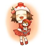 1girl aika_(doubutsu_no_mori) brown_hair closed_eyes coat doll doubutsu_no_mori flower hair_flower hair_ornament happy hat holding open_mouth polka_dot_skirt red_hat smile sugardimension