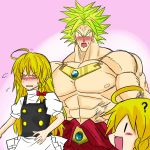 1boy 1girl black_eyes blonde_hair blush bracelet broly crossover dragon_ball dragon_ball_z dress earrings ears eyes fingers hands happy hat head jewelry kamishima_kanon kirisame_marisa male mouth muscle necklace nose puffy_sleeves ribbon skin smile spiky_hair super_saiyan touhou witch witch_hat yellow_eyes