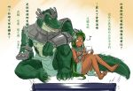 barefoot bracelet breasts chinese controller dark_skin dual_persona genderswap green_hair hairband handheld jewelry league_of_legends long_hair musical_note nam_(valckiry) personification ponytail remote_control renekton spoken_musical_note television translated under_boob yellow_eyes