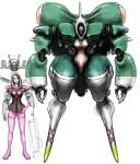 1girl alien choujikuu_yousai_macross comparison dress giantess green_hair head helmet izo_(bjc000510) long_hair macross mecha meltrandi millia_jenius pilot pilot_suit realistic redesign science_fiction spacesuit vf-1 vf-1j zentradi