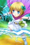 1girl bianca's_daughter blonde_hair blue_eyes blush boots bow cape dragon_quest dragon_quest_v electricity flat_chest gloves hair_bow highres magic mutsuki_(moonknives) open_mouth short_hair solo staff