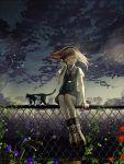 1girl aiha-deko brown_hair cat closed_eyes fence flower headphones original sitting suspenders