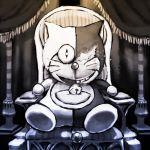 1other animal bear bell cat chair crossover dangan_ronpa danganronpa doraemon doraemon_(character) fusion ichinoniwa monokuma muted_color no_humans oyama_nobuyo robot seiyuu_connection seiyuu_joke shin-ei_animation smile spike_chunsoft tagme tail whiskers