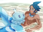 1boy :> @@@ blue_eyes blue_hair frillish goggles pokemon pokemon_(game) pokemon_bw2 shizui_(pokemon) short_hair smile tan water wet
