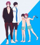 4boys arm_around_shoulder barefoot black_hair blue_eyes child dual_persona free! goggles male matsuoka_rin multiple_boys nanase_haruka_(free!) open_mouth red_eyes redhead smile swim_trunks young