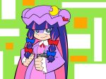 1girl :> blue_eyes book bow cosplay crescent hair_bow lanlanlancho long_hair multicolored_hair panty_&_stocking_with_garterbelt patchouli_knowledge patchouli_knowledge_(cosplay) purple_hair smile solo stocking_(psg) touhou two-tone_hair violet_eyes
