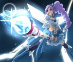 1girl aono_miki blue blue_background blue_dress blue_legwear boots choker cure_angel_(fresh_precure!) cure_berry dress eyelashes fresh_precure! frilled_skirt frills hair_ornament heart ikari_manatsu long_hair magical_girl midriff navel open_mouth ponytail precure purple_hair ribbon serious shirt side_ponytail skirt solo thigh-highs thigh_boots thunder violet_eyes wand wings