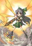 ara_ta arm_cannon black_hair bow hair_bow long_hair navel red_eyes reiuji_utsuho touhou weapon