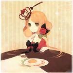 blonde_hair crown egg food fork green_eyes ham smile xxxxakixxxx