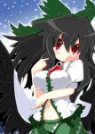 black_hair breasts erect_nipples navel red_eyes reiuji_utsuho reku ribbon smile solo touhou wings