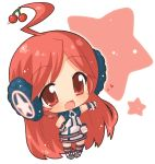 belt blush boots cherry chibi dress earmuffs food fruit gloves hahifuhe headphones headset heart kneehighs long_hair miki_(vocaloid) red_eyes red_hair redhead sf-a2_miki simple_background smile socks solo star striped striped_gloves striped_kneehighs striped_thighhighs thigh-highs vocaloid wrist_cuffs