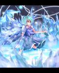 blue_eyes blue_hair bow cirno hair_bow ice magic_circle ribbon short_hair touhou wings yoshinaga_p