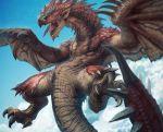 cloud clouds dragon flight flying harvester monster monster_hunter rathalos ratholos realistic sky wings wyvern