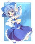 akai bad_id blue_eyes blue_hair bow cirno cosplay detached_sleeves hair_bow hakurei_reimu hakurei_reimu_(cosplay) short_hair solo touhou